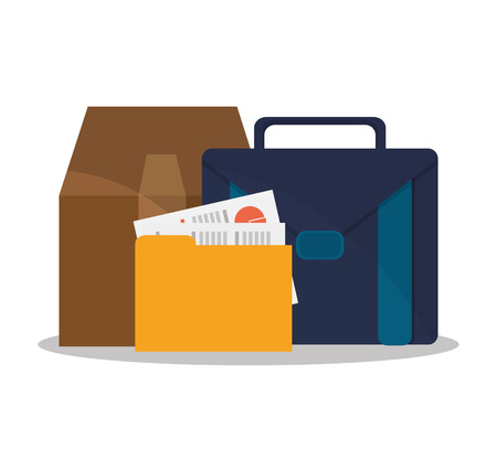 workforce: Suitcase file and box icon. Business supplies management and workforce and theme. Colorful design. Vector illustration