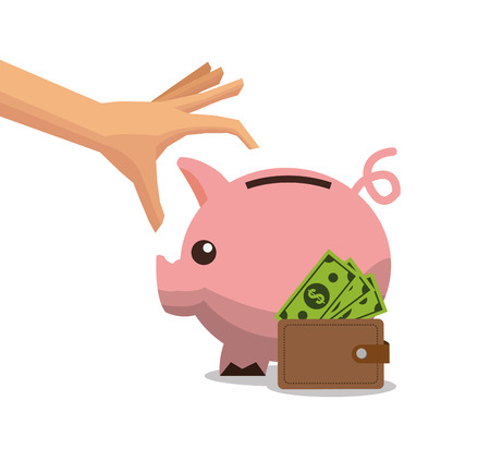 financial item: Piggy wallet and bills icon. Money financial item commerce and market theme. Colorful design. Vector illustration