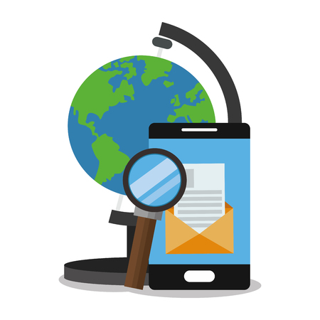 Smartphone planet and lupe icon. seo search internet marketing and web theme. Colorful design. Vector illustration