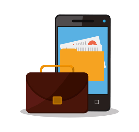 workforce: Suitcase smartphone and file icon. Business supplies management and workforce and theme. Colorful design. Vector illustration