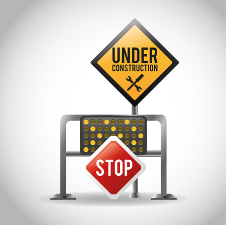 Stop and road sign icon. Under construction work and repair theme. Isolated design. Vector illustration