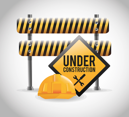 vector sign under construction: Barrier road sign and helmet icon. Under construction work and repair theme. Isolated design. Vector illustration