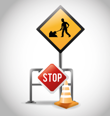 Cone and stop road sign icon. Under construction work and repair theme. Isolated design. Vector illustration Illustration