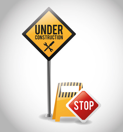 vector sign under construction: Barrier and stop road sign icon. Under construction work and repair theme. Isolated design. Vector illustration