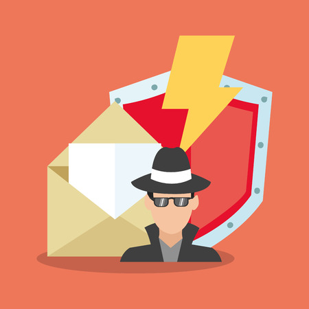 menace: Hacker and shield icon. Security system cyber warning and protection theme. Colorful design. Vector illustration