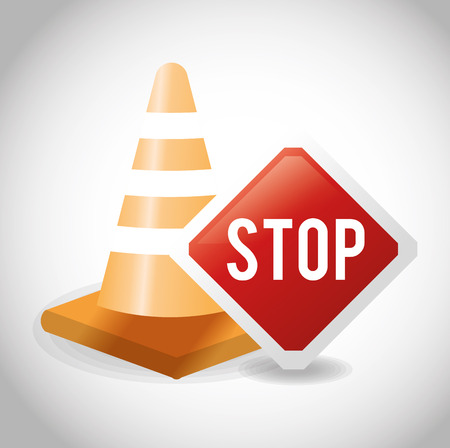 vector sign under construction: Cone and stop sign icon. Under construction work and repair theme. Isolated design. Vector illustration Illustration
