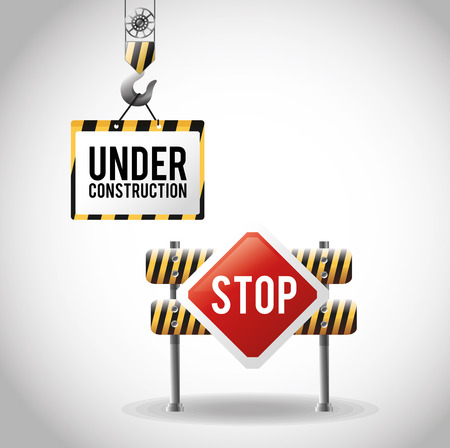vector sign under construction: Barrier crane and stop road sign icon. Under construction work and repair theme. Isolated design. Vector illustration