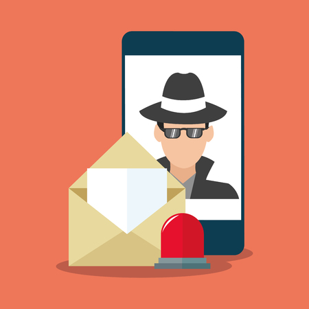 Smartphone and envelope icon. Security system cyber warning and protection theme. Colorful design. Vector illustration Illustration
