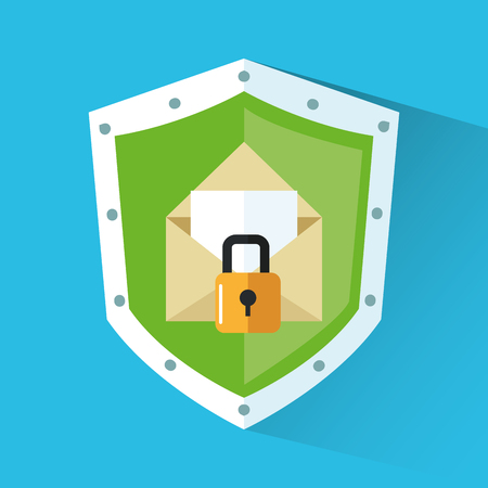 Padlock and envelope inside shield icon. Security system cyber warning and protection theme. Colorful design. Vector illustration Illustration