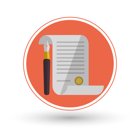 judicial: Document icon. Law justice legal and judgment theme. Colorful design. Vector illustration