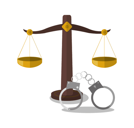 punishing: Balance and handcuffs icon. Law justice legal and judgment theme. Colorful design. Vector illustration
