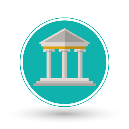 punishing: Building icon. Law justice legal and judgment theme. Colorful design. Vector illustration