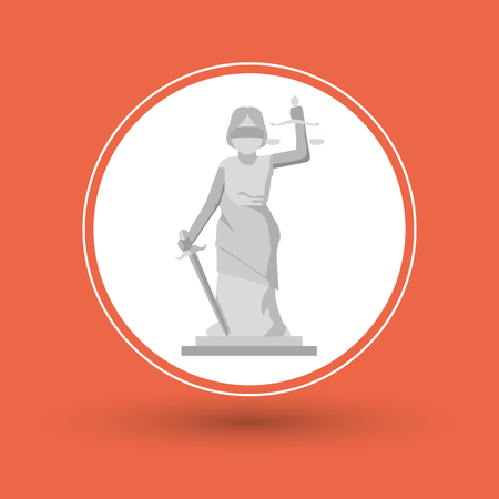 verdicts: Statue icon. Law justice legal and judgment theme. Colorful design. Vector illustration