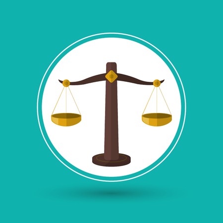 courtroom: Balance icon. Law justice legal and judgment theme. Colorful design. Vector illustration