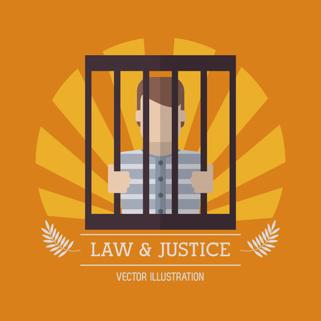 judgment: Guilty inside jail icon. Law justice legal and judgment theme. Colorful design. Vector illustration Illustration