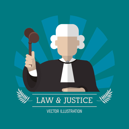 judgment: Judge with hammer icon. Law justice legal and judgment theme. Colorful design. Vector illustration