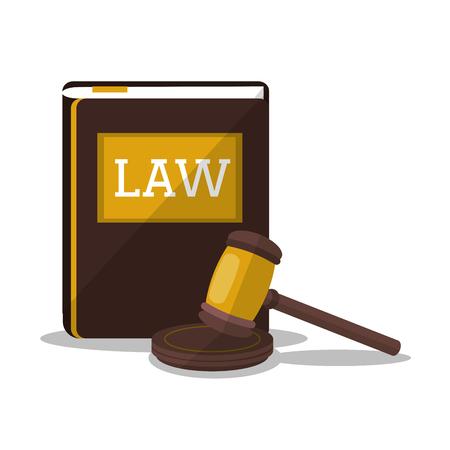 Buch und Hammer-Symbol. Gesetz Gerechtigkeit und Rechts Urteil Thema. Bunte Design. Vektor-Illustration