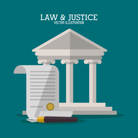 juridical: Building and document icon. Law justice legal and judgment theme. Colorful design. Vector illustration Illustration