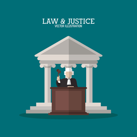 juridical: Building and judge icon. Law justice legal and judgment theme. Colorful design. Vector illustration