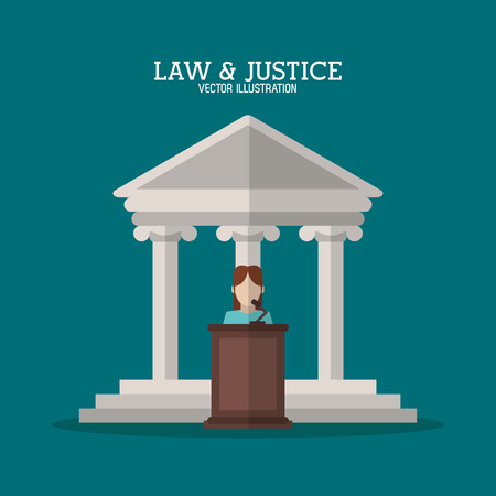 witness: Building and witness icon. Law justice legal and judgment theme. Colorful design. Vector illustration Illustration