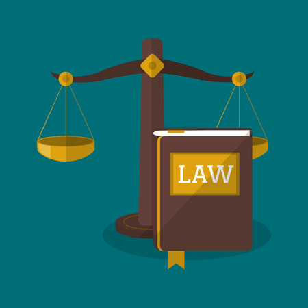 judgments: Balance and book icon. Law justice legal and judgment theme. Colorful design. Vector illustration