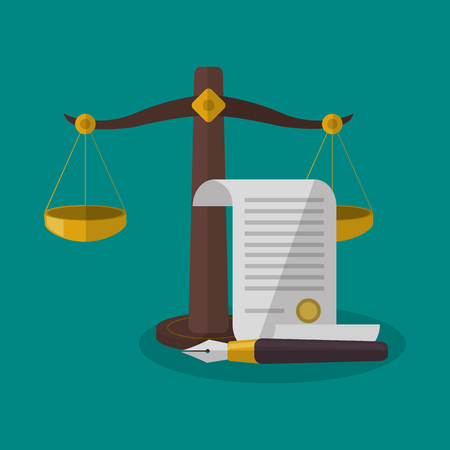 judgment: Balance and document icon. Law justice legal and judgment theme. Colorful design. Vector illustration