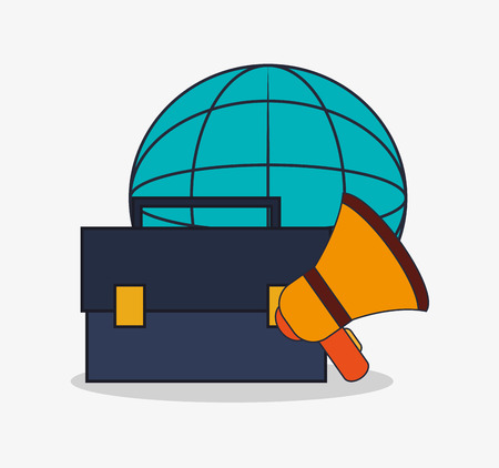 Suitcase megaphone and global icon. digital marketing media and seo theme. Colorful design. Vector illustration