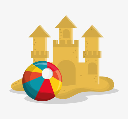 sand castle: Sand castle and ball icon. summer vacation beach and tropical theme. Colorful design. Vector illustration Illustration