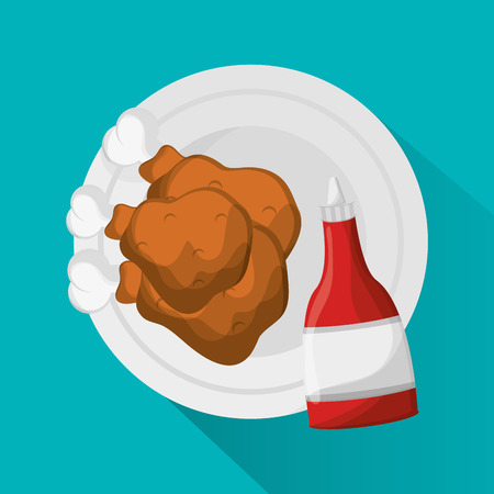 Chickens icon. Fast food menu and market theme. Colorful design. Vector illustration Illustration
