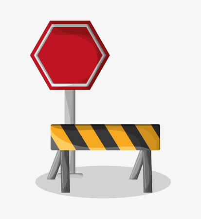 vector sign under construction: Barrier and stop sign icon. Under construction work repair and progress theme. Colorful design. Vector illustration
