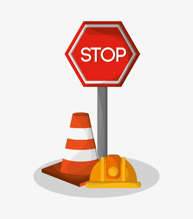 vector sign under construction: Stop sign cone and helmet icon. Under construction work repair and progress theme. Colorful design. Vector illustration