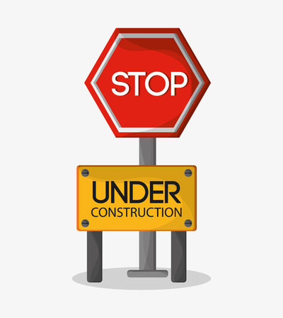 vector sign under construction: Stop sign icon. Under construction work repair and progress theme. Colorful design. Vector illustration Illustration