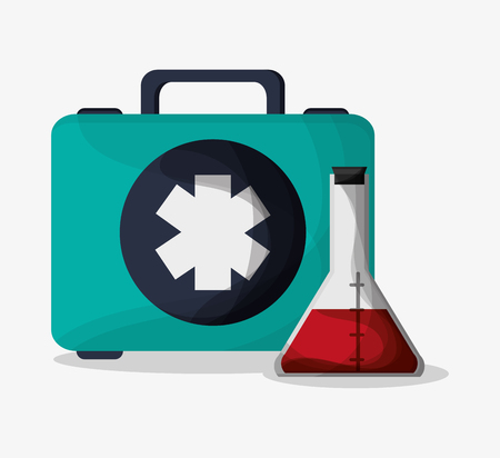 urgent care: Flask and medical kit icon. Medical and health care theme. Colorful design. Vector illustration Illustration