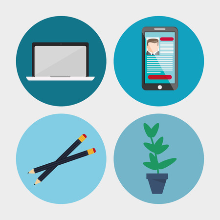 pencil plant: Laptop pencil smartphone and plant icon. Work time office and supplies theme. Colorful design. Vector illustration