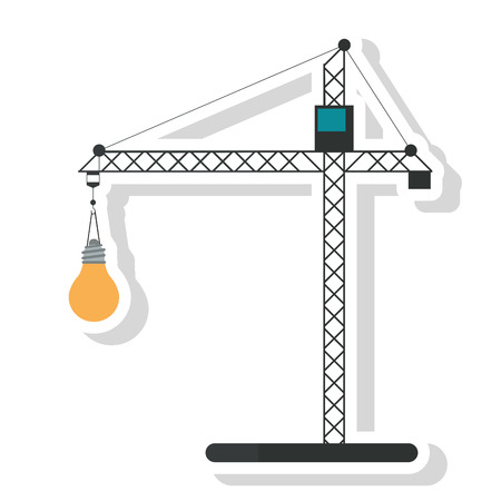 Crane holding light bulb icon. tool instrument repair and construction theme. Isolated design. Vector illustration