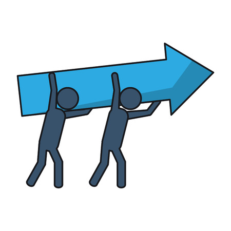 collaborative: Group of pictograms with arrow icon. Teamwork support and collaborative theme. Isolated design. Vector illustration