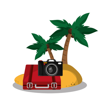 Baggage palm tree and camera icon. travel trip vacation and tourism theme. Colorful design. Vector illustration