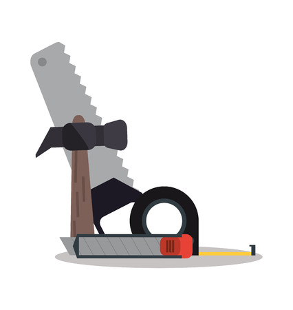 Hammer saw and meter icon. Instrument repair and construction theme. Colorful design. Vector illustration