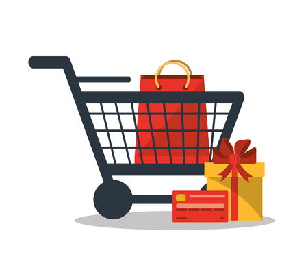 shopping bag vector: Gift bag and cart icon. Shopping online ecommerce media and market theme. Colorful design. Vector illustration