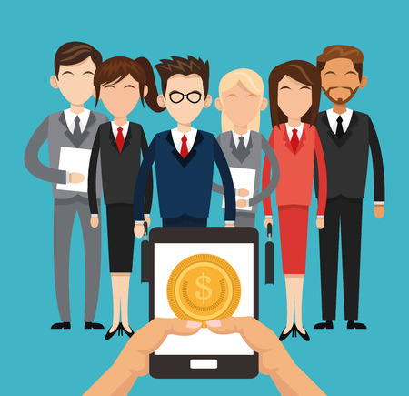 Businesspeople coins and tablet icon. Profit business and financial theme. Colorful design. Vector illustration