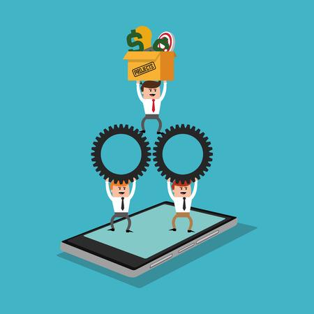 Icône de dessin animé et tablette d'homme d'affaires. Profiter des affaires et du thème financier. Design coloré. Illustration vectorielle
