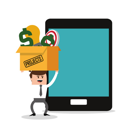 profitability: Businessman cartoon and tablet icon. Profit business and financial theme. Colorful design. Vector illustration Illustration