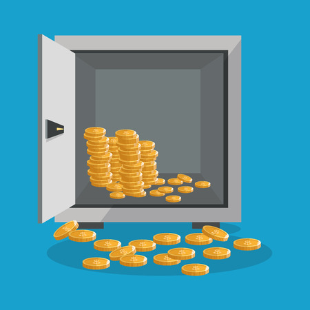 strongbox: Coins and strongbox icon. Profit business and financial theme. Colorful design. Vector illustration