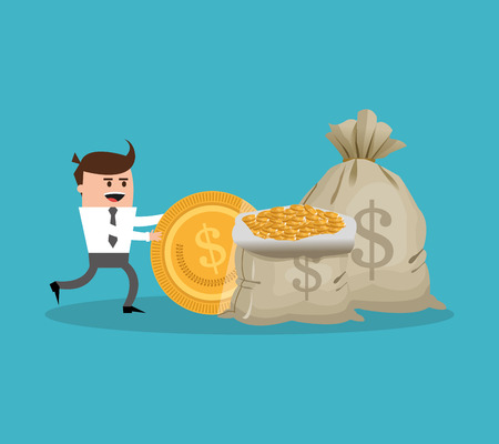 Businessman cartoon and coins icon. Profit business and financial theme. Colorful design. Vector illustration Illustration