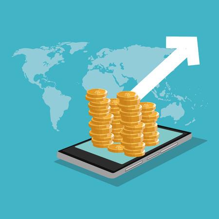 Smartphone et icône de pièces de monnaie. Profiter des affaires et du thème financier. Design coloré. Illustration vectorielle