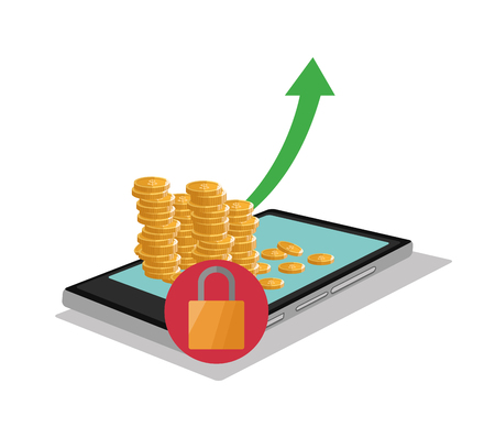 Tablet and coins icon. Profit business and financial theme. Colorful design. Vector illustration