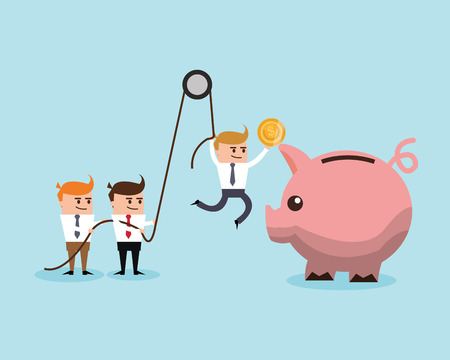 Businessman cartoon piggy and coin icon. Profit business and financial theme. Colorful design. Vector illustration Illustration