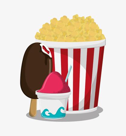 pop corn: Pop corn and ice cream icon. Fast carnival food and menu theme. Colorful design. Vector illustratio