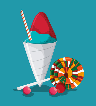 Ice cream and candy icon. Fast carnival food and menu theme. Colorful design. Vector illustratio