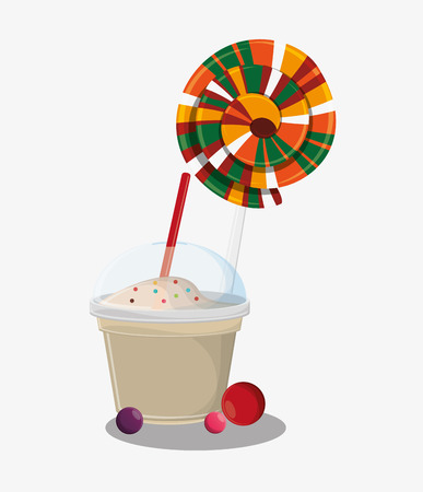 Candy and milkshake icon. Fast carnival food and menu theme. Colorful design. Vector illustratio Illustration